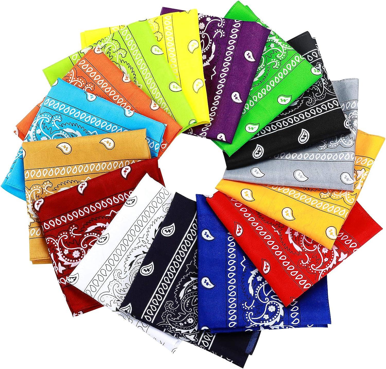 15pcs Bandanas Multi-Purpose Polyester Bandanas Party Outdoor Favor Scarf Headband Handkerchiefs for Unisex Women Men Boy Girls: Clothing