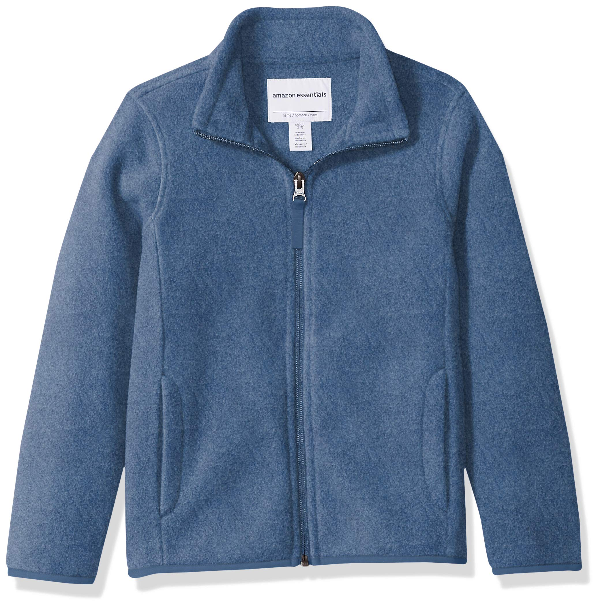 Amazon Essentials Girl's Full-Zip Polar Fleece Jacket, Blue Heather, XX-Large
