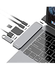 mbeat Elite Mini USB C Hub Adapter with USB C/Thunderbolt 3 Power Pass-Through - Space Gray