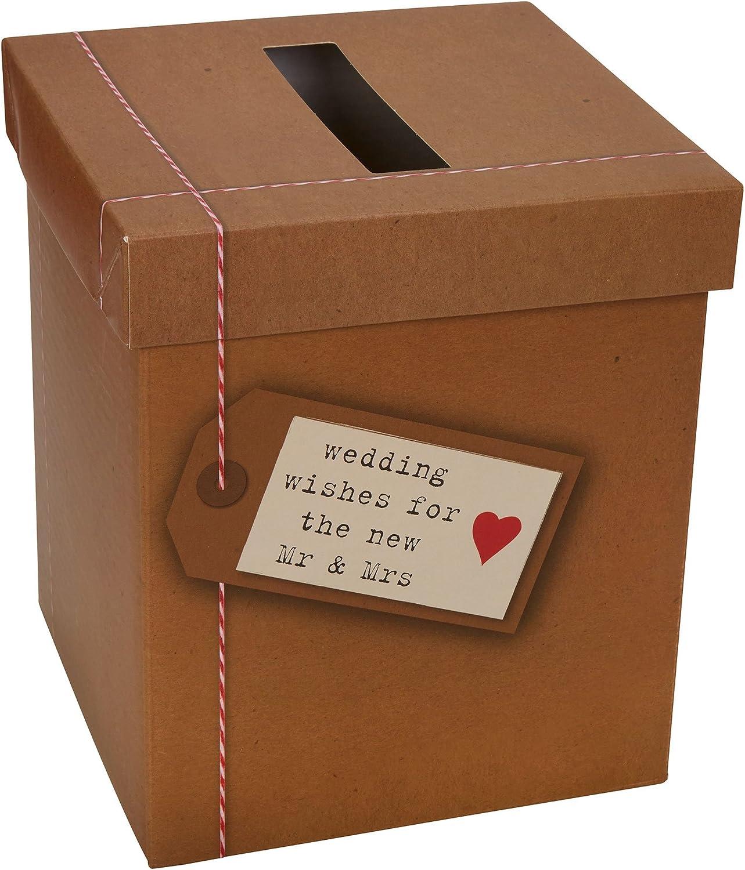 Neviti Just My Type-Wedding Deseos buzón de Correos, Papel, marrón, 14,3 x 14,3 x 17 cm: Amazon.es: Hogar