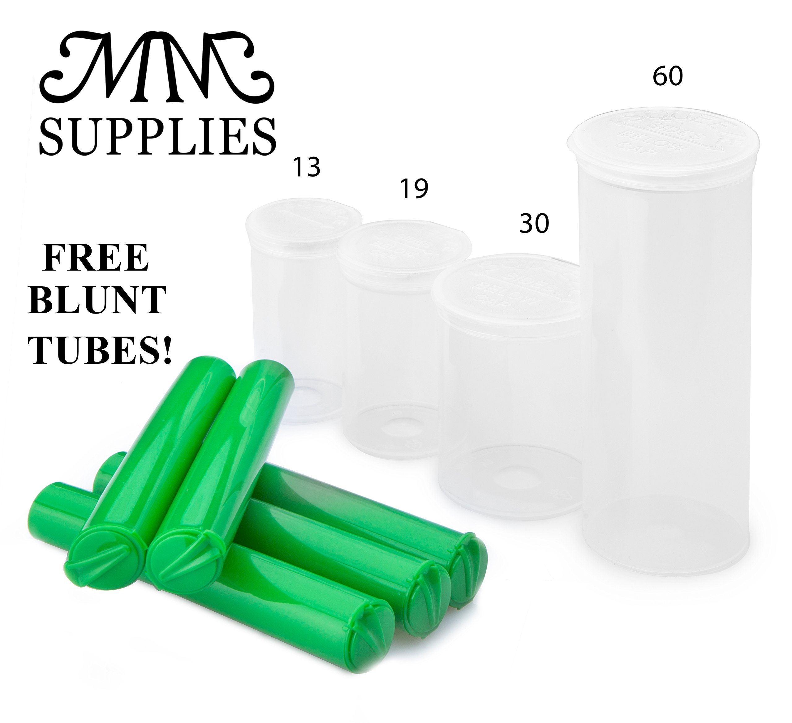 MM SUPPLIES Pop Top Vials 19 Dram Case of 225| FREE BLUNT TUBES Full (75,150,225,315) Medical Marijuana Container 3.5 Grams Pop Top Bottles Pop Top Vial. (225, 19 DRAM CLEAR) by MM SUPPLIES