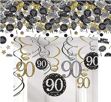Geburtstag13 Teile Wimpelkette Luftballons gold schwarz silber Deko Set 30