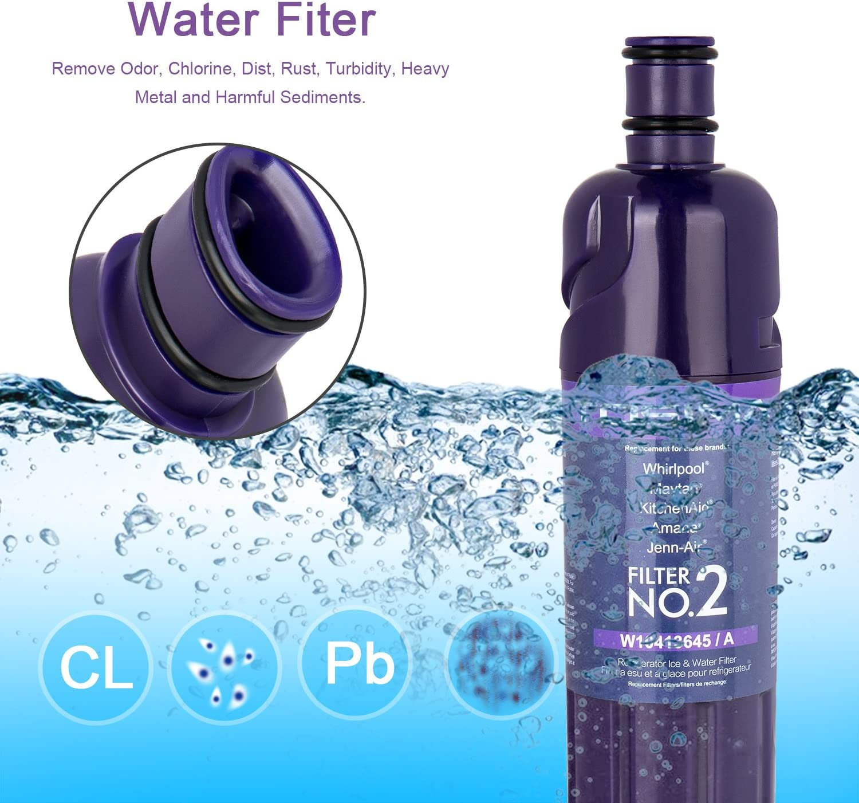 ToSima W10413645A - Filtro de agua para frigorífico (2 unidades, repuesto para Whirlpool EDR2RXD1, Maytag, KitchenAid, Amana, Jenn-Air filtro de agua), color morado ...