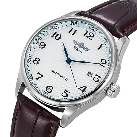 Gute Classic Winner Montre mécanique pour homme avec cadran blanc et  aiguilles bleues Bracelet simili cuir 8c22ff803617