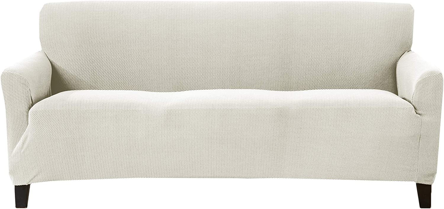 Textured Stretch Sofa Slipcover. Form Fit, Slip Resistant, Strapless Slipcover. Knitted Jacquard Stretch Arm Chair Slipcover. Theo Collection (Sofa, Ivory)