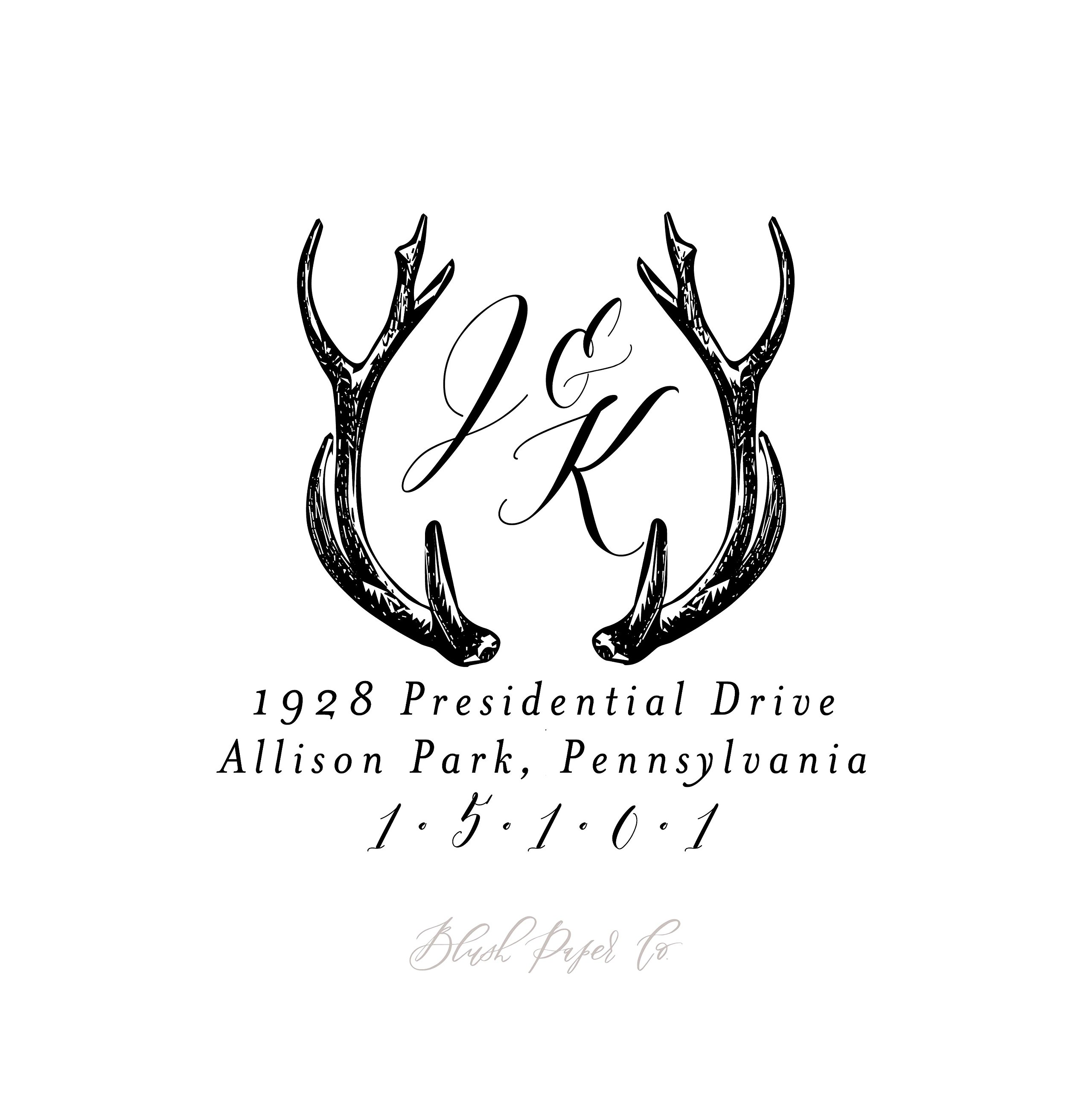 Deer Antler Monogram Return Address Stamp, Self Inking // 1.625''