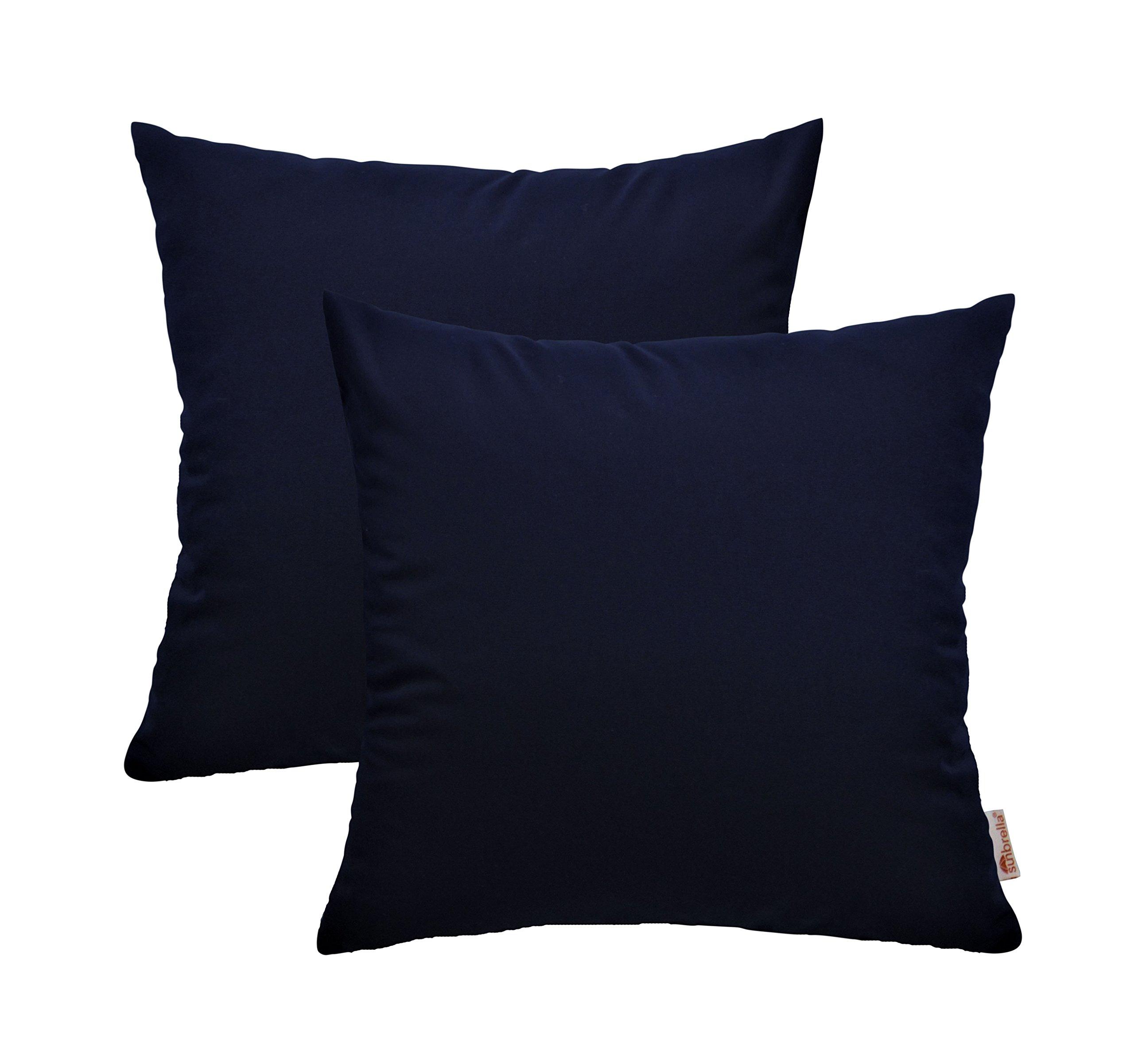 RSH Décor Set of 2 Indoor/Outdoor Decorative Throw Pillows Sunbrella Navy Blue - 20'' x 20''