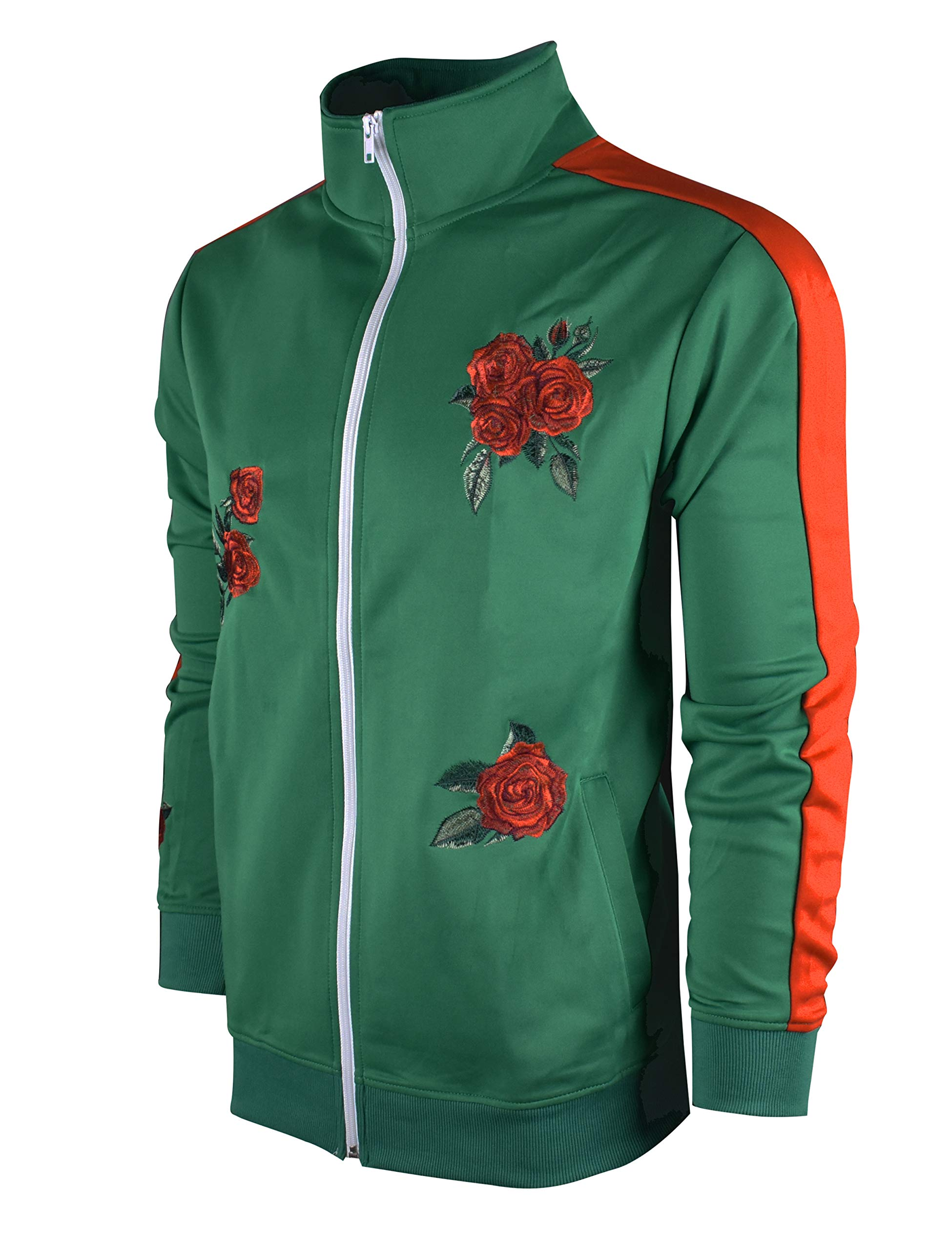 SCREENSHOTBRAND-F11853 Mens Urban Hip Hop Premium Track Jacket - Slim Fit Side Taping Rose Embroidery Fashion Top-Green-Small by SCREENSHOT