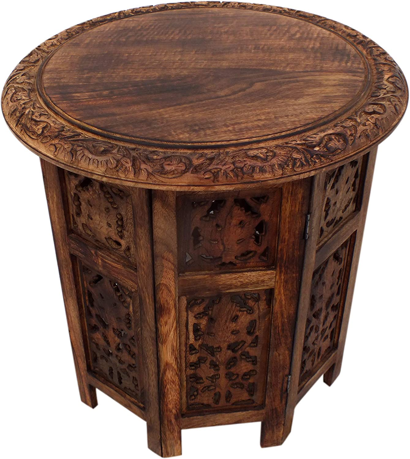The Urban Port Wooden Hand Carved Folding Accent Coffee Table, Brown