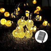 Solar Luces Decorativas 40 LED 8M/26.3FT Impermeable Solar Bola de Cristal Luz Decorativa Luces Exterior Solar Cadena…