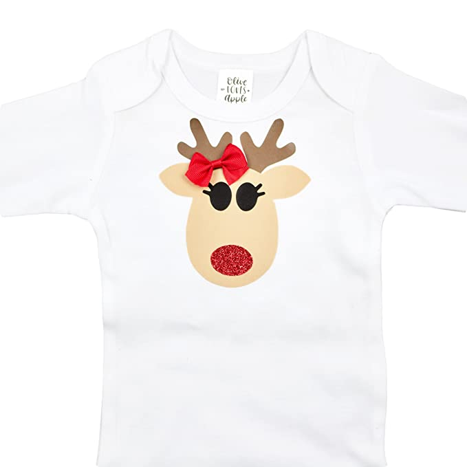 olive loves apple baby christmas onesie baby reindeer christmas onesie bodysuit for girls 1st christmas