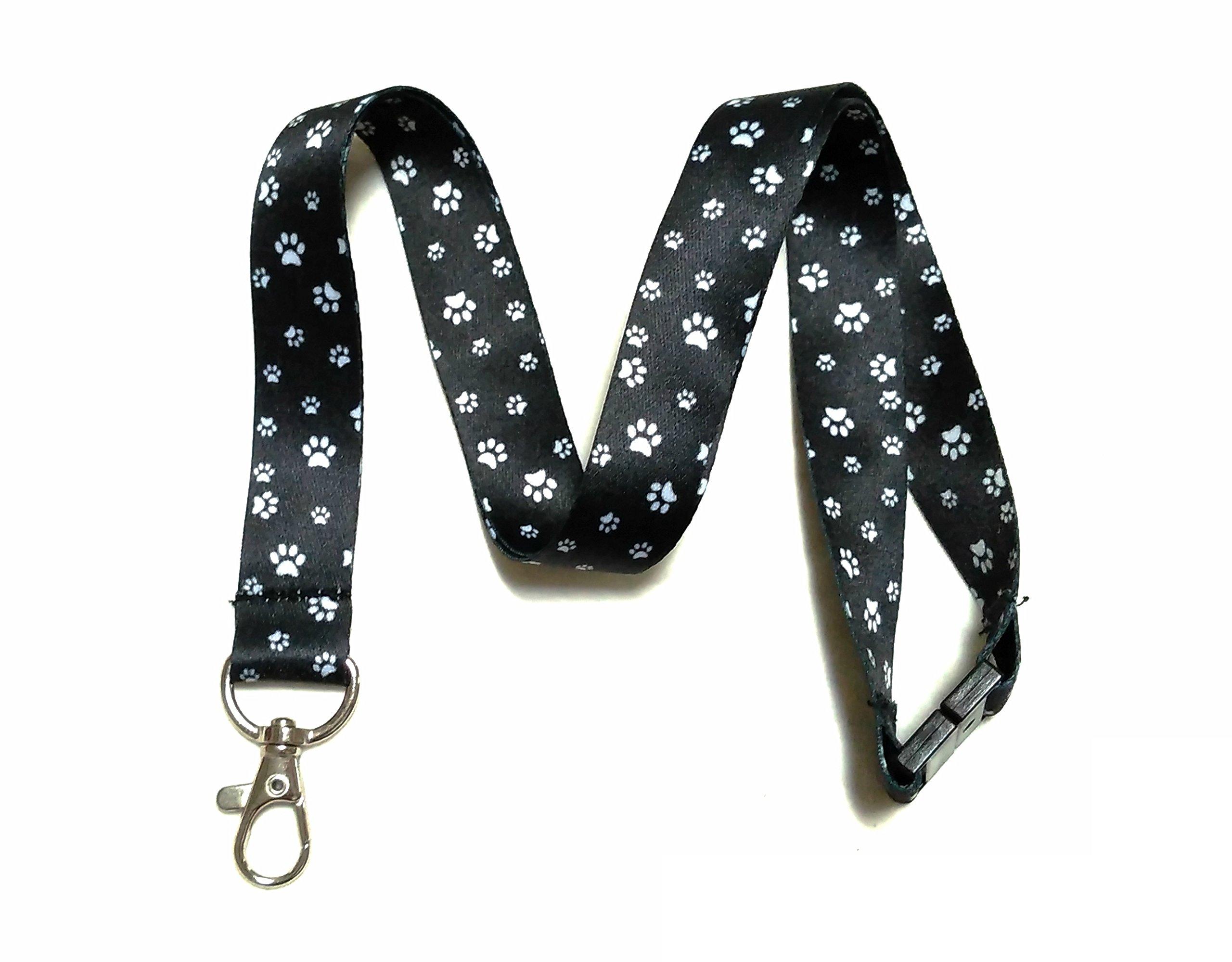 Break Away Black & White Print Lanyard Key Chain Id Badge Holder (Paw Print)
