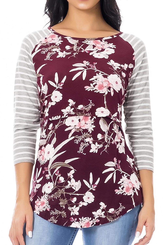 Smallshow Nursing Tops Women's Long Sleeve Striped Floral Breastfeeding T Shirt