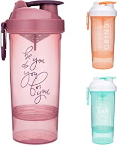 Smartshake Shaker Bottle with Motivational Quotes | 27 Ounce Protein Shaker Cup | Attachable Container Storage for Protein or Supplements | Perfect Fitness Gift