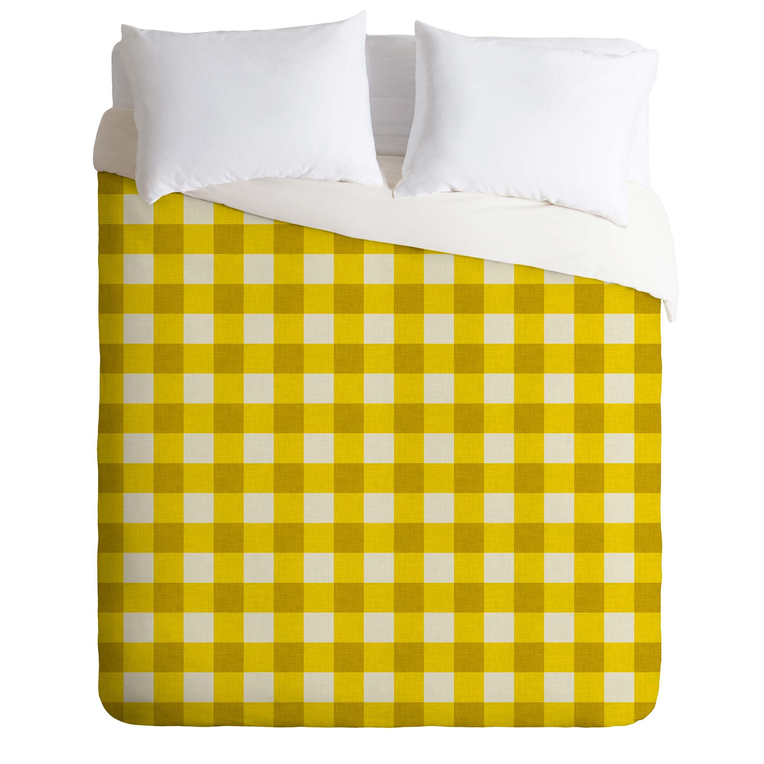 Deny Designs  Holli Zollinger Yellow Gingham Duvet Cover, Twin/Twin XL