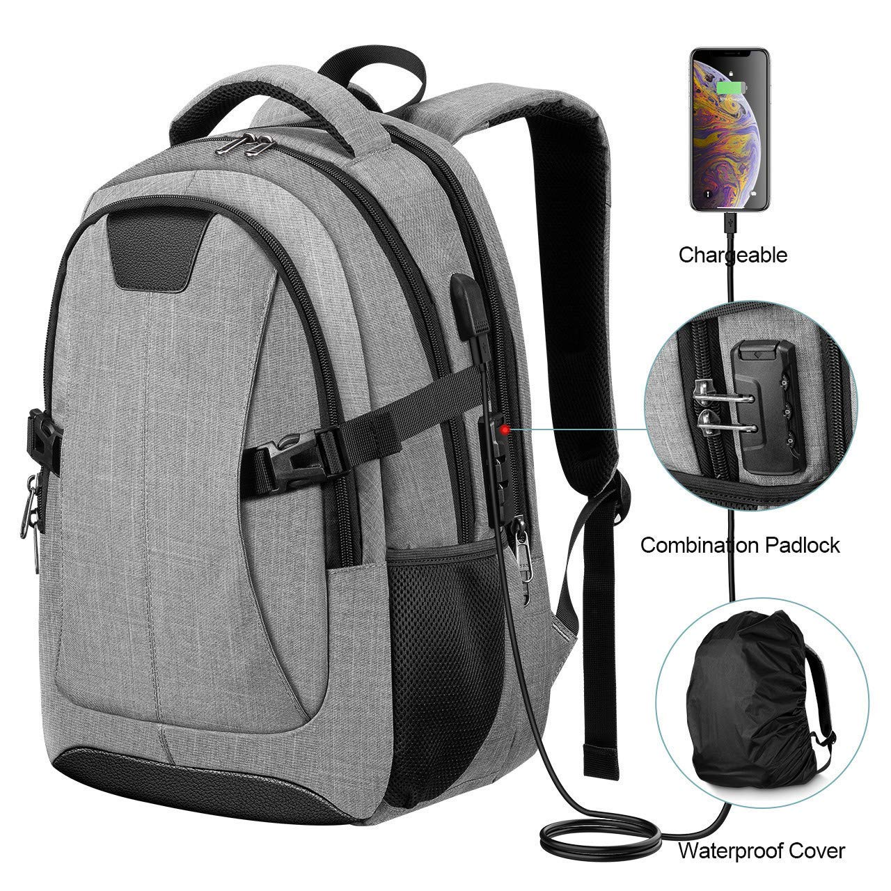 5cf3c6b59f13 Travel Laptop Backpack, PICTEK Anti-Theft Business Water Resistant Backpack  Computer Bag with USB Charging Port for Men Womens Boys Girls, College ...