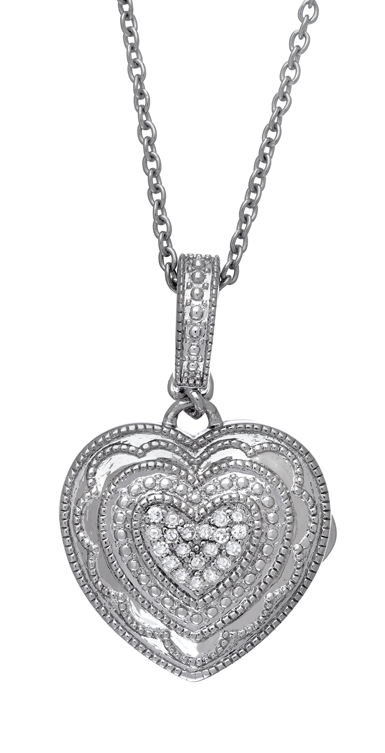 Sterling Silver-Diamond-Heart-Custom Photo Locket Necklace-18-inch chain-The Rose by With You Lockets