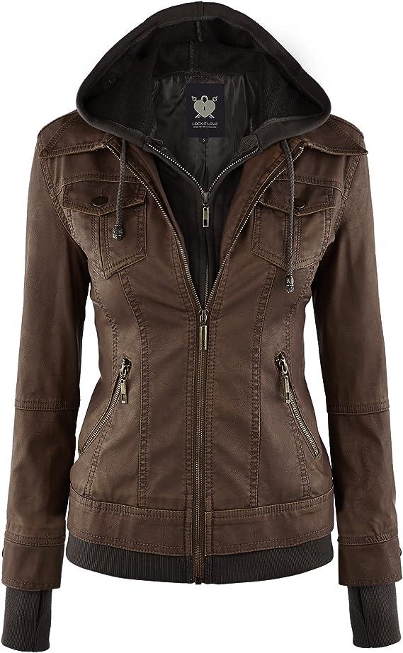 Lock and Love - Chaqueta de cuero sintético con capucha desmontable, estilo motociclista, para mujer (tallas XS-2XL)