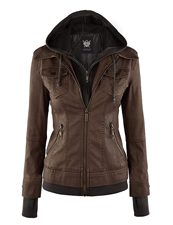 Lock and Love LL WJC664 Womens Faux Leather Jacket with Hoodie M Coffee