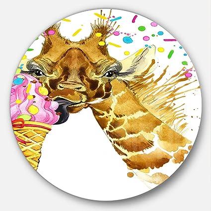 Amazon Com Designart Giraffe Eating Ice Cream Watercolor