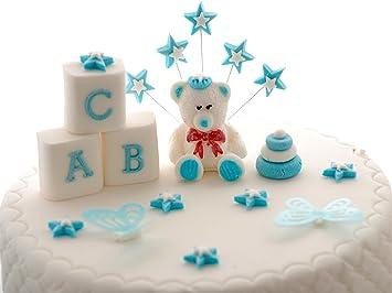 Edible Blue Teddy Bear Set Baby Boy Birthday Christening Baby