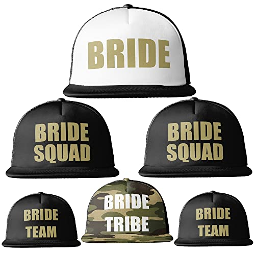 a9de124a876 Image Unavailable. Image not available for. Colour  Bride Tribe Gold Print  MESH TRUCKER Snapback Caps Hats Squad Team ...