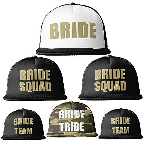 483da2b2142 Bride Tribe Gold Print MESH TRUCKER Snapback Caps Hats Squad Team Hen Party  Do  Amazon.co.uk  Handmade