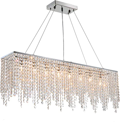7PM Rectangular Chandelier Modern Crystal Pendant Light Chrome Hanging Lighting Fixture - a good cheap dining room chandelier