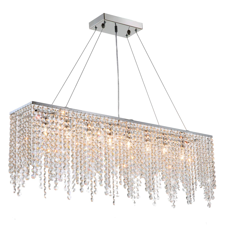 "7PM Modern Linear Rectangular Island Dining Room Crystal Chandelier Lighting Fixture (Large L40"")"