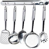 Conjunto Utensílios para Cozinha com Suporte Fixo 6 Peças Euro Inox