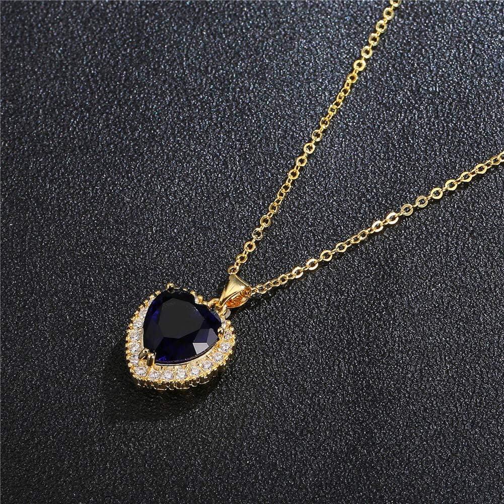 AILUOR Titanic Bijoux Coeur Collier Femme Coeur de lOc/éan du Film Titanic en Cristal Bleu et Transparent avec Une cha/îne plaqu/ée Or Blanc Pendentifs Bijoux