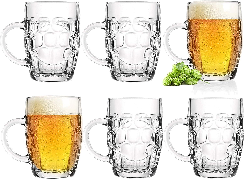 Vasos de cerveza de 0,5 L con asa, jarra de cerveza de 6 piezas, jarra métrica de cristal, Oktoberfest, cerveza, con adornos, diseño clásico