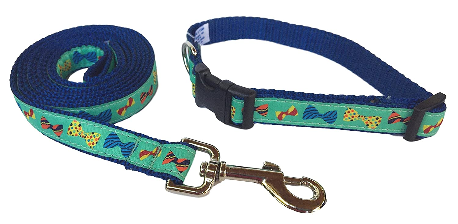 Extra Small Preston Bow Ties Dog Collar and Leash Set Multi colord Tie Design on Green Ribbon with bluee Nylon Webbing (Extra Small)