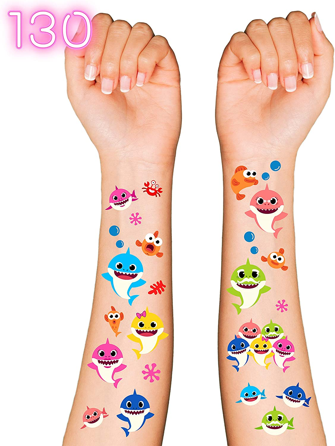 Baby Cute Shark Party Supplies Temporary Tattoos for Kids - 130 Tatoos | Shark Baby Party Favors & Birthday Party Decorations + Halloween Costume (V2)
