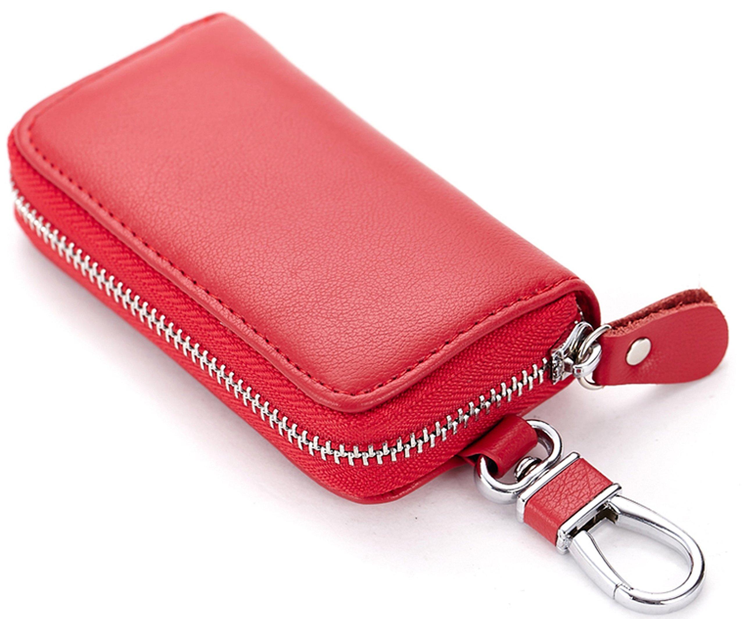 Unisex Universal Leather Car Key Zipper Case Wallet Snap Closure Key Ring Card Slots, Red, b6w006rd