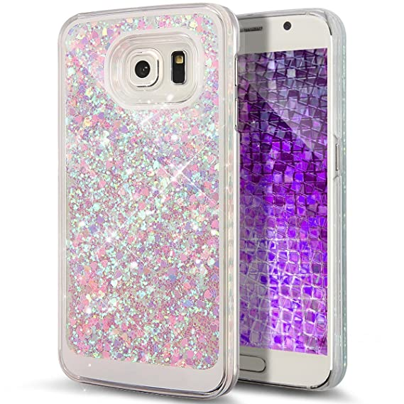 newest 05613 bca46 Galaxy S6 Case, Liujie Cute Funny Glitter Quicksand Dynamic Transparent 3D  Flowing Star Hard PC Protection Phone Case for Samsung Galaxy S6 (pink+blue  ...