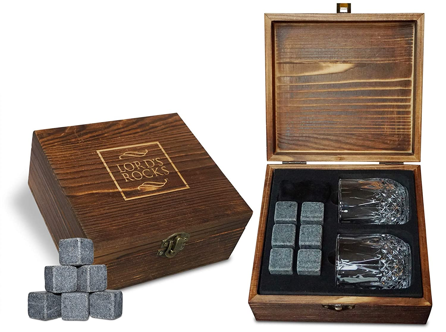 Whiskey Stones Gift Set - 8 Natural Granite Whisky Rocks To Chill Your Beverages and Drinks + 2 Whiskey Large Glasses in Handmade Wooden Box + eBook for FREE - Best Bar Accessories By Lord's Rocks LORD'S ROCKS