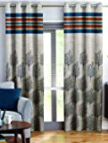 Story@Home Berry Blackout Combo Set of 2 Piece Jacquard Door Curtains for Living Room and Bed Room - 7 Feet Long - Blue