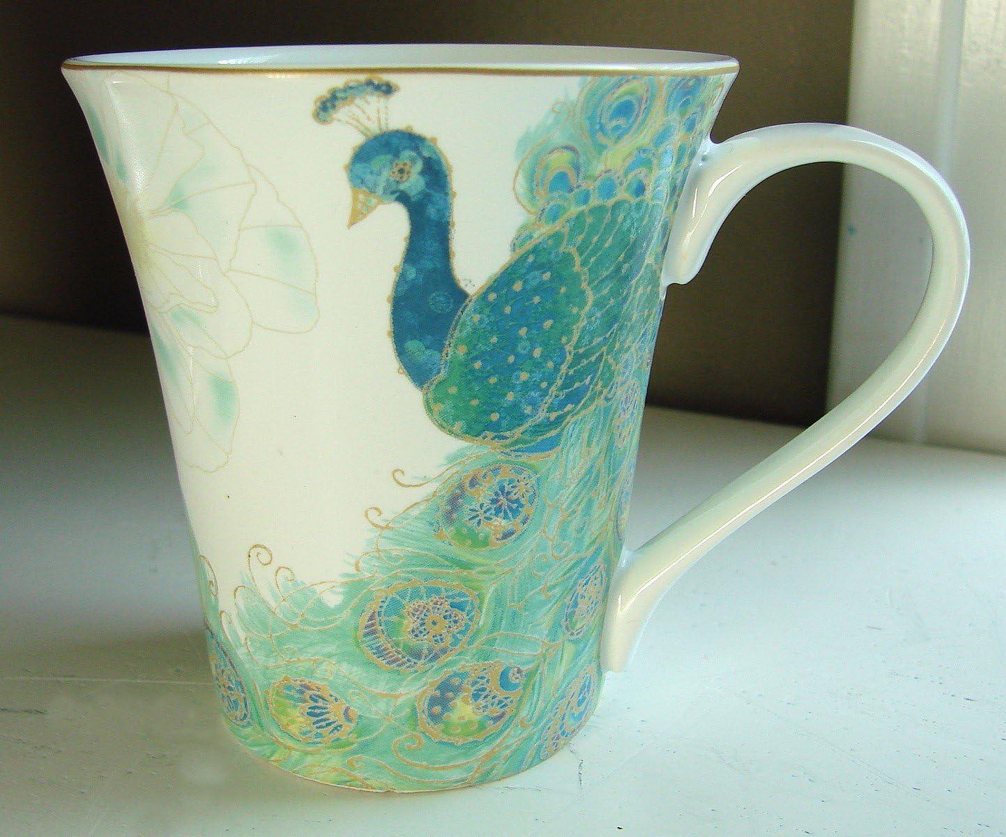 222 Fifth Lakshmi Peacock Coffee Mugs, Set of 4
