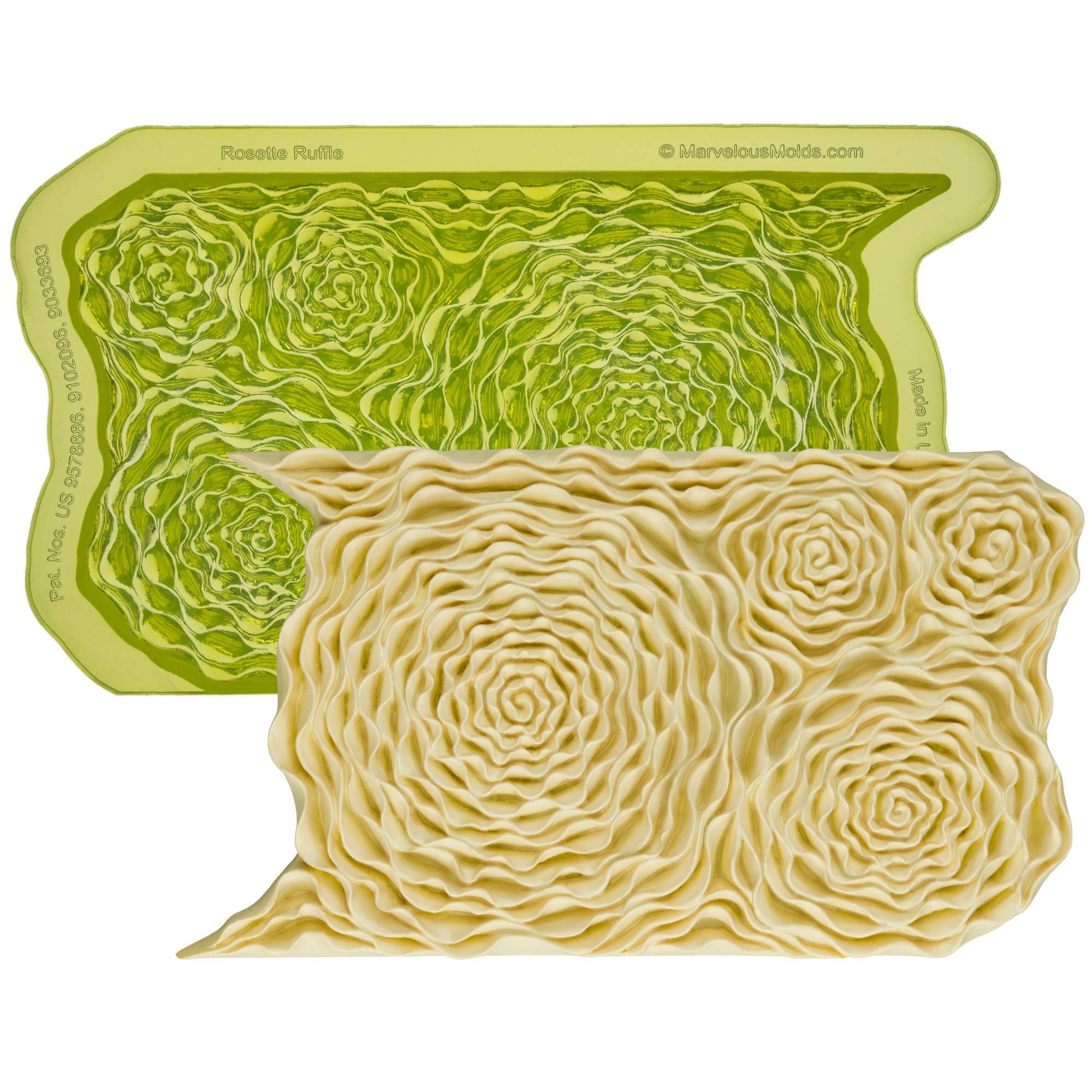 Marvelous Molds Rosette Ruffle Simpress Silicone Mold | Cake Decorating with Fondant, Gumpaste Icing