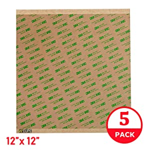 "Adhesive Transfer Tape, Double Sided Transfer Sheet, 12"" x 12"" 3M 468MP (5 Pack) by Weupe"