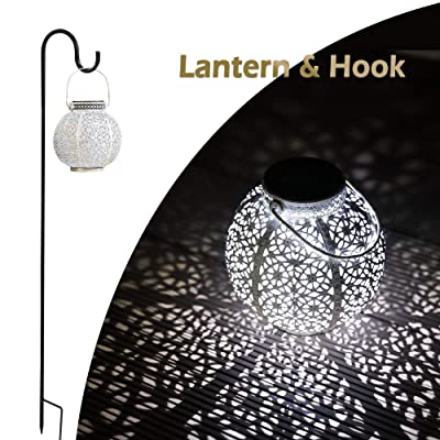 SteadyDoggie Solar Lantern - Hanging Solar Light with White LED - Retro Ornate Hanging Solar Lantern with Handle & Shepherd's Hook : Garden & Outdoor