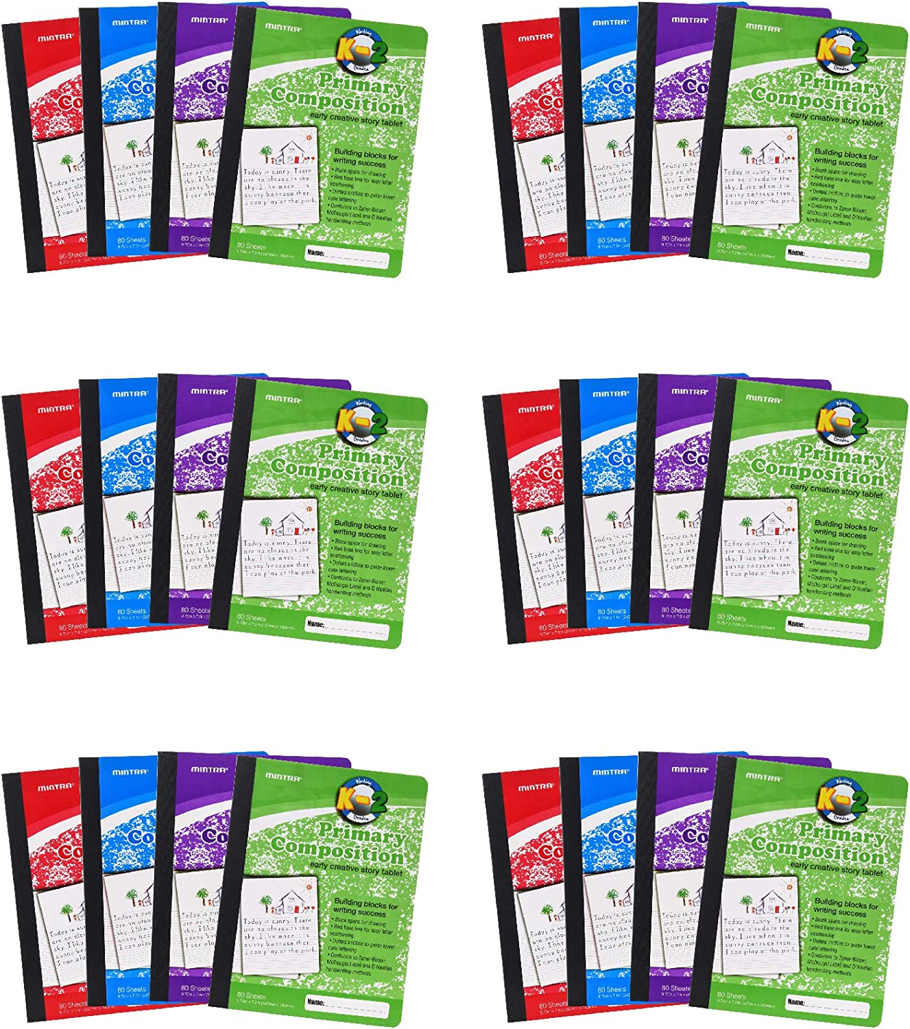 Mintra Office Composition Notebooks - for School, Home, Business, Office (Primary Ruled - Assorted, 24 units (6-4pks))