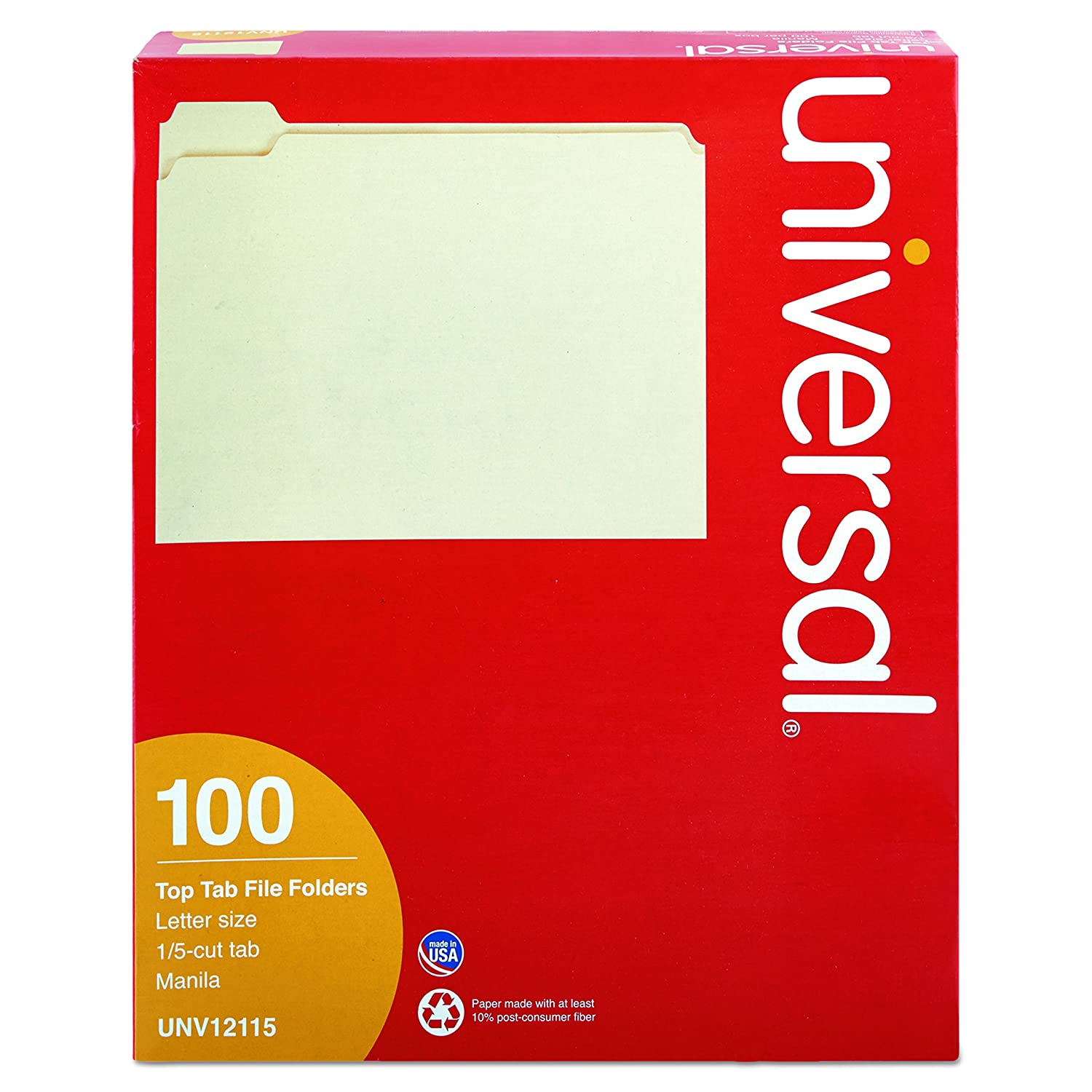 12115 One-Ply Top Tab 1//5 Cut Assorted 2 Pack Letter Manila 100//Box Universal File Folders