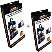 Fancy Mobility 2PACK Car Backseat Organizer - Baby Accessories, Kids Small Toys & Travel Essentials Holder - Great Storage Bag for Road Trips - Perfect Includes Visor Organizer