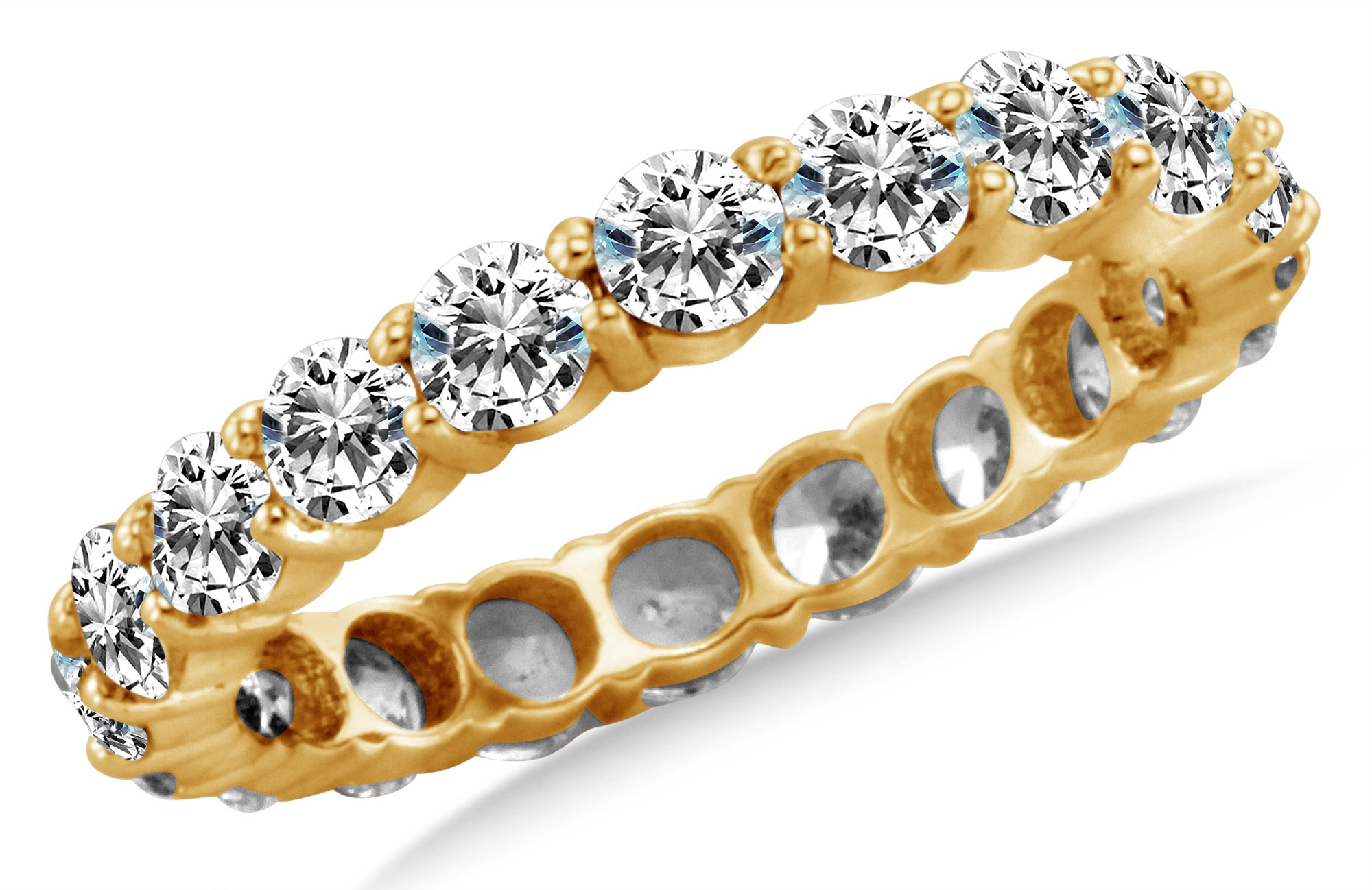 Size 5 - 4mm Solid 14K Yellow Gold Channel Set Round Brilliant Cut Highest Quality CZ Cubic Zirconia Eternity Anniversary or Wedding Ring Band (Available in sizes 5 , 6 , 7 & 8)
