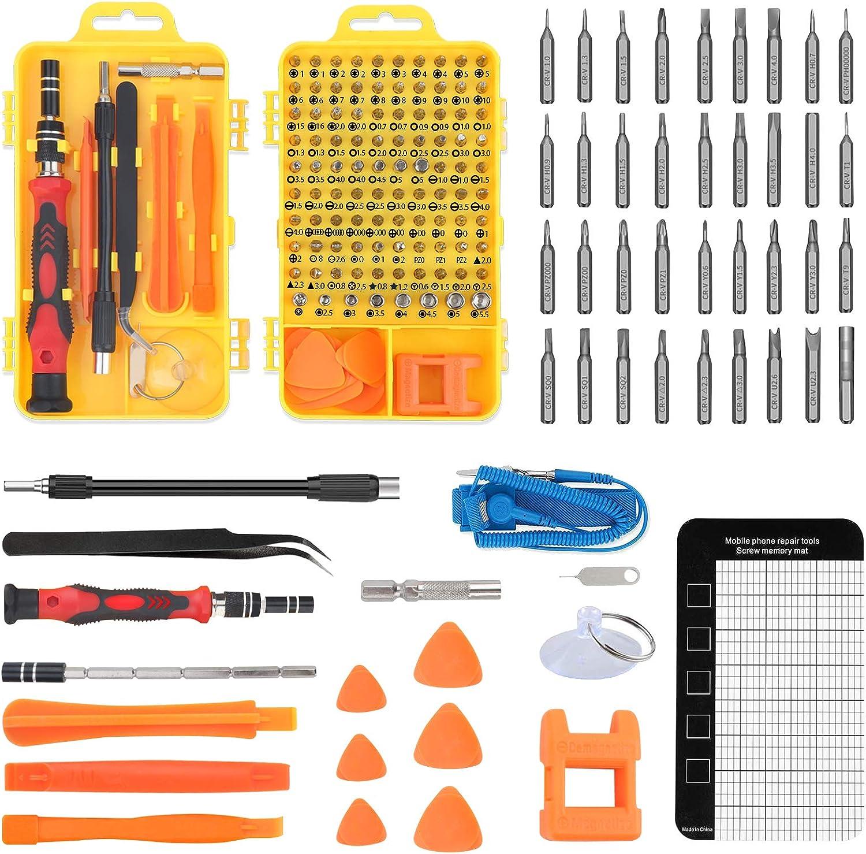 117 en 1 Juego de Destornilladores de Precisión con Pulseras Antiestaticas, Kit de Herramientas de Reparación de Bricolaje Profesional para Teléfono, iPhones, Laptops, Xboxs, Gafas, Reloj, PC, TV ect