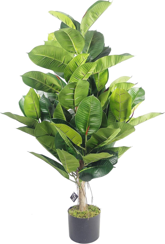 Leaf Planta de Goma Grande de 90 cm para árbol Artificial Ficus Elastica, Verde Oscuro