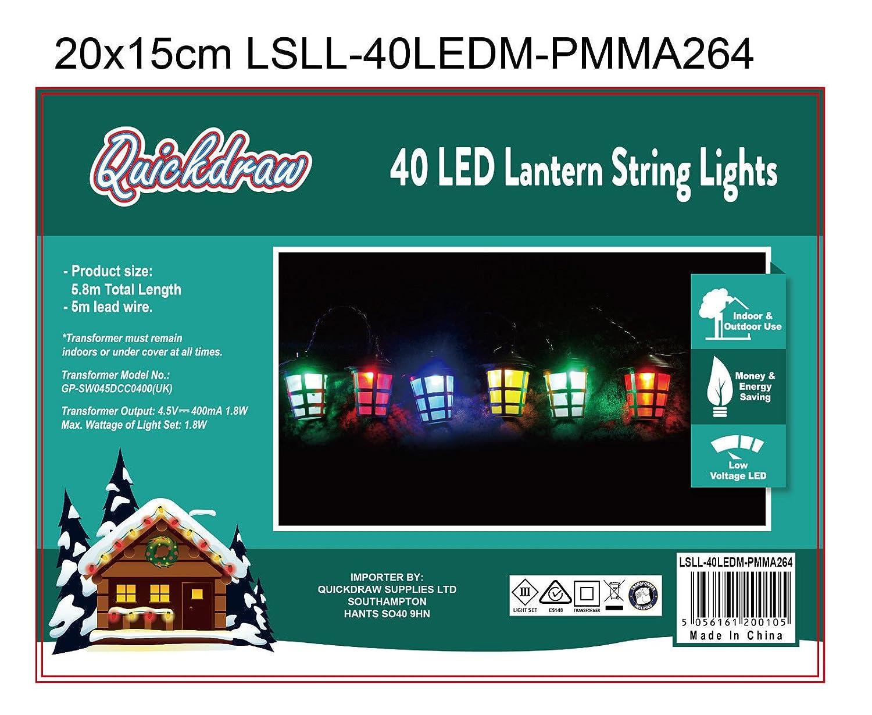 40 LED Coloured Christmas Lantern Lights Decoration Mains Powered ...