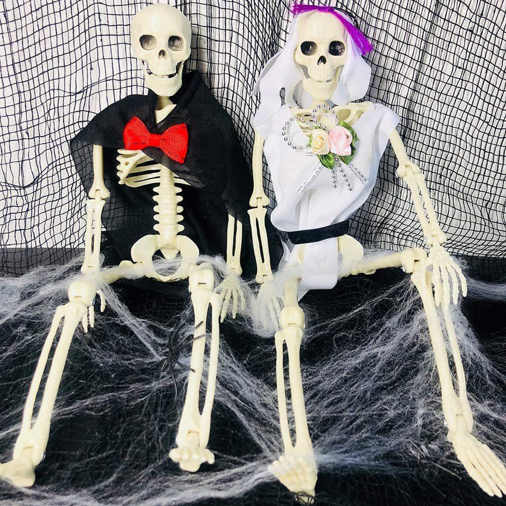 """2 Sets 16"""" Posable Halloween Skeleton- Full Body Halloween Skeleton with Movable/Posable Joints bride and groom Accessories for Best Halloween Decoration"""